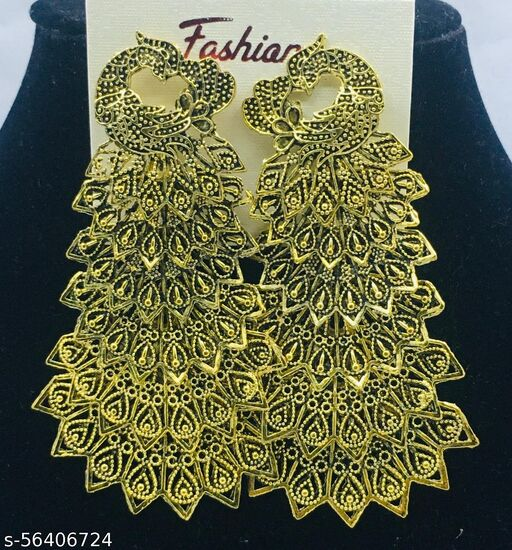 GOLD PLATED PEACOCK DESIGN JHUMKAS