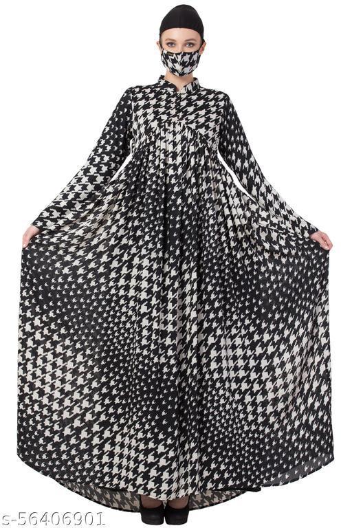 Dubai Printed Dress With Pleats And Umbrella Flare