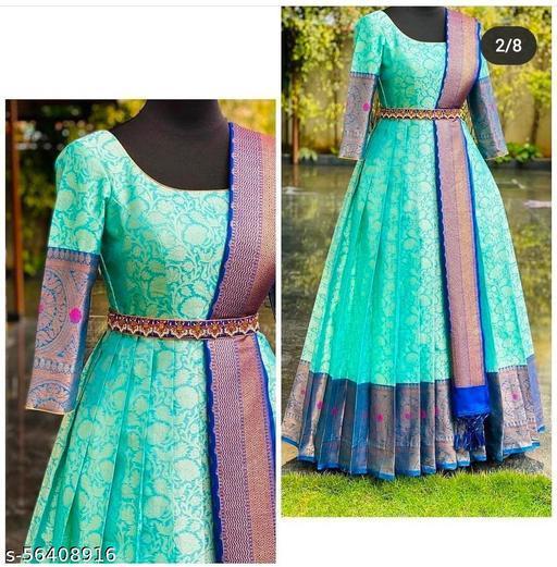 Pista Jaquard Designer Gown with Dupatta