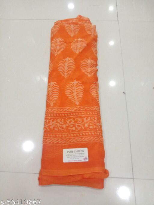 Pure Chiffon Designer Printed Party Wear Saree With Blouse