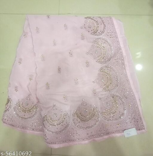 Pure Crepe Designer Embroidery Party Wear Saree With Blouse