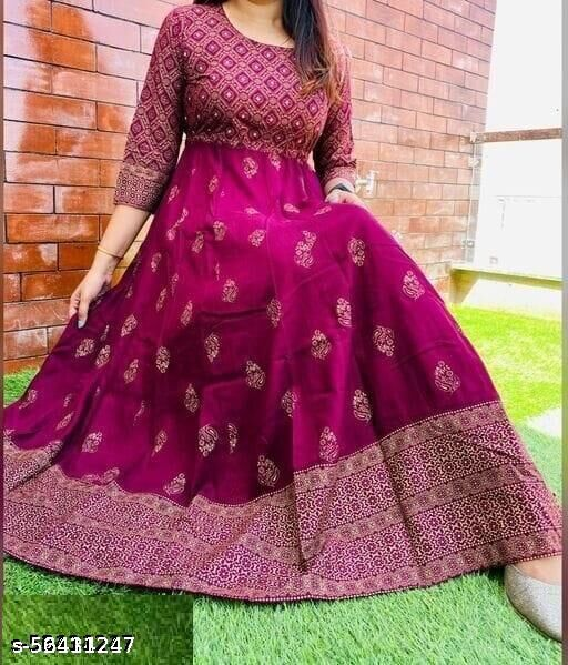 beautiful styliesh and party wear anarkali gown in reyon febric