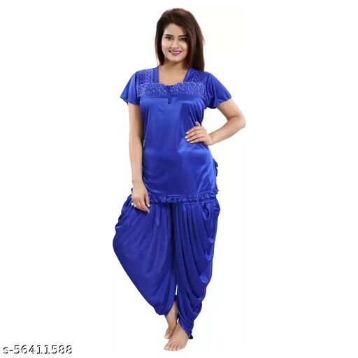 Rangmor Satin Nightsuit Combo (Patiala & Top)  Royal Blue