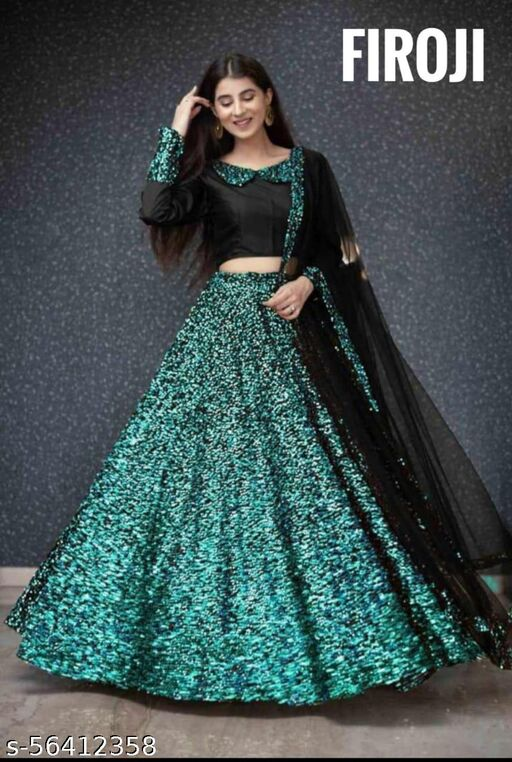 SEQUENCE WORK UNSTITCHED LEHENGA