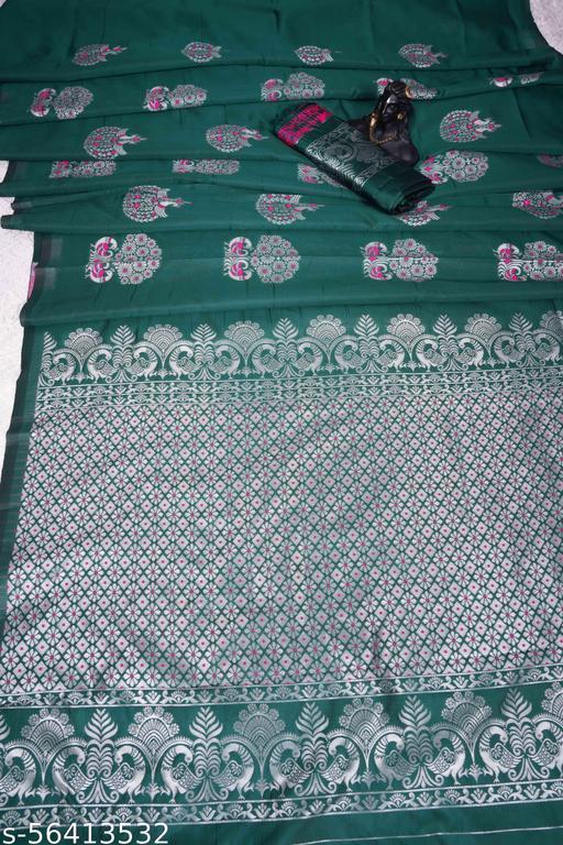 Webtile Green Gorgeous Look Banarasi Saree