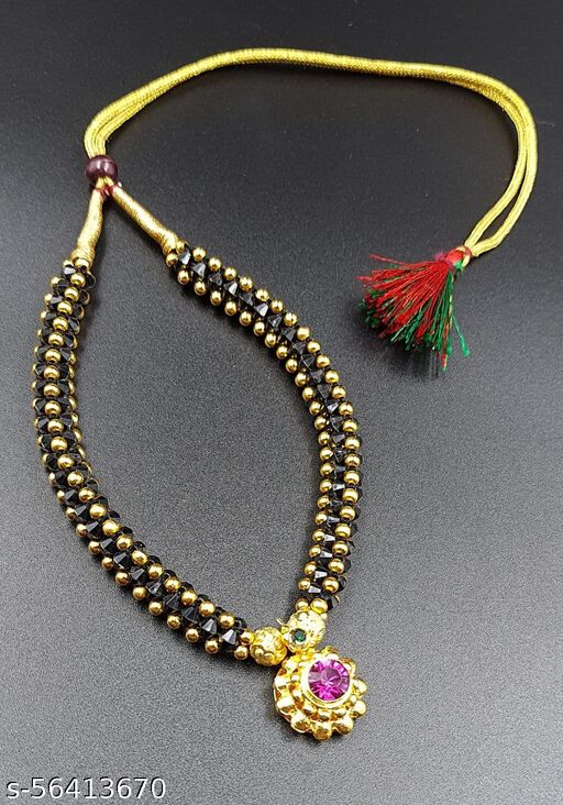 Black Beads Thushi  Necklaces & Chains