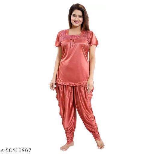 Rangmor Satin Nightsuit Combo (Patiala & Top) Peach
