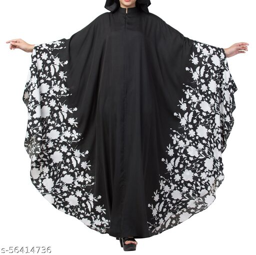 Alluring Black and White Printed Irani Kaftan Abaya Dress