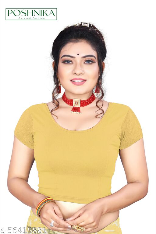 Poshnika Trendy Stretchable Blouse With Designer Fancy Net Sleeves