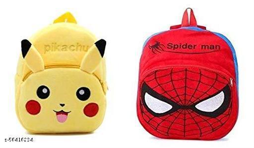 PANDABEES Soft Velvet Kids School Bag Down Panda Plush Fabric Baby Boys and Girls School Nursery Picnic Carry Travelling Bag PIKACHU+SPIDERMAN -BAG