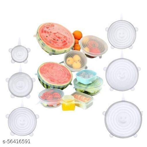 Jirax Silicone Stretch Lids Reusable Microwave Safe Loose Flexible Covers (Set of 6) (Multicolor)
