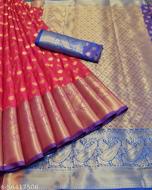 soft cotton silk saree with zalar pallu and blouse saree
