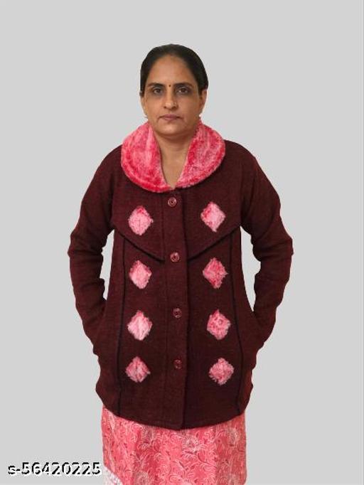 Womens Woollen Collared / Cardigarn/ Swater /Single Pocket