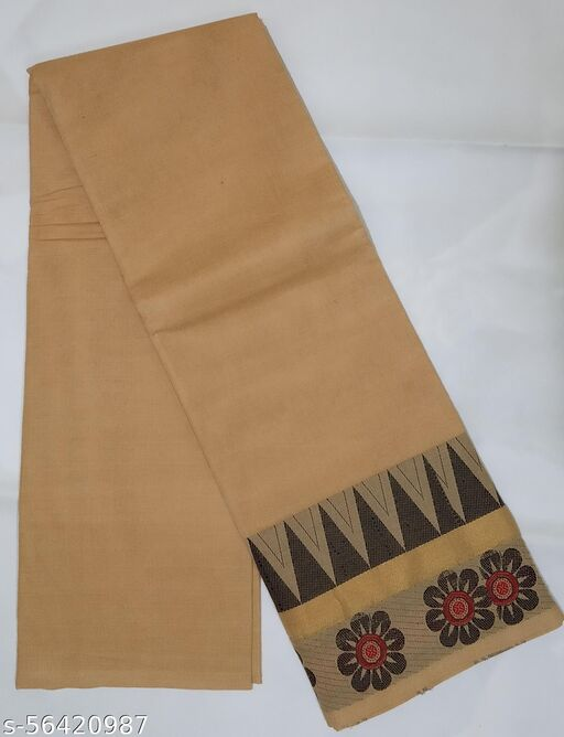 Chettinad Cotton Saree - Temple & Zari Border Saree With Blouse (Beige)