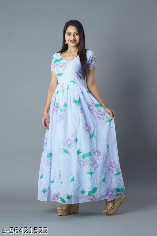 PRINTED GREY GEORGETTE STITCHED GOWN