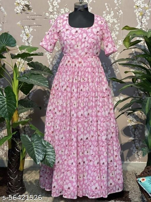 Exlusive trendy look Pink printed gown