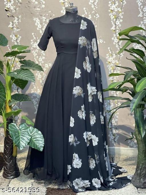 BlackDesigner Designer  Gown With Printed Dupatta