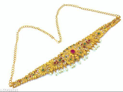 Gold Tone Kundan Waist Belt with Pearls