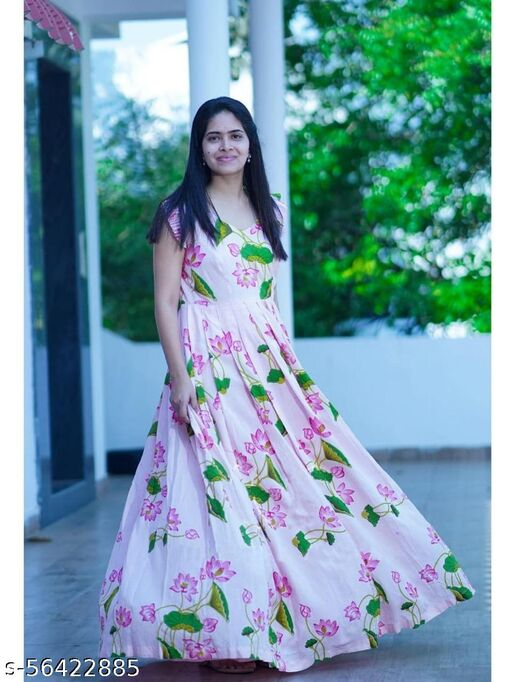 PRINTED WHITE GEORGETTE STITCHED GOWN