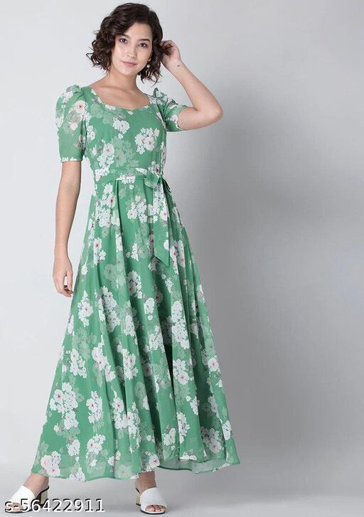 Floral Printed Green Gown