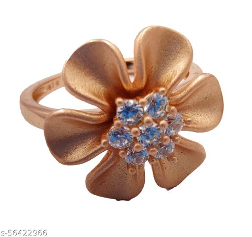 AK Girls Flower Ring in Sterling Silver Antique Oxidized 925 Sterling Silver Rhodium-Plated Zircon Flower
