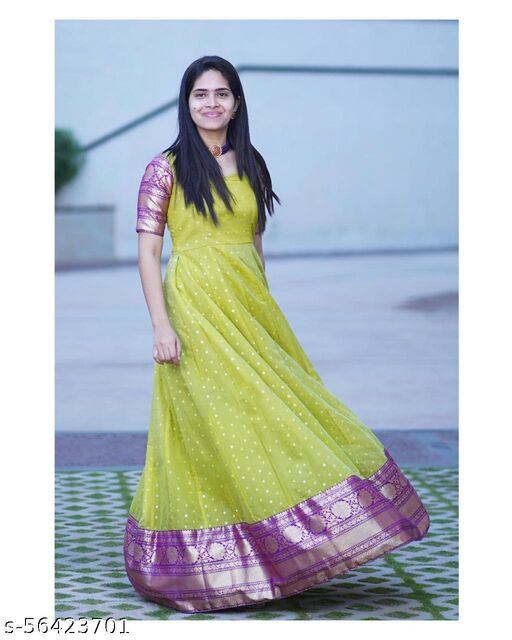 Pista Colored Georgette With Jaquard Gown
