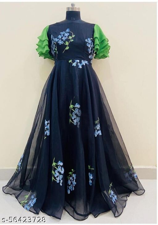 Exlusive trendy look Black Coloredprinted gown