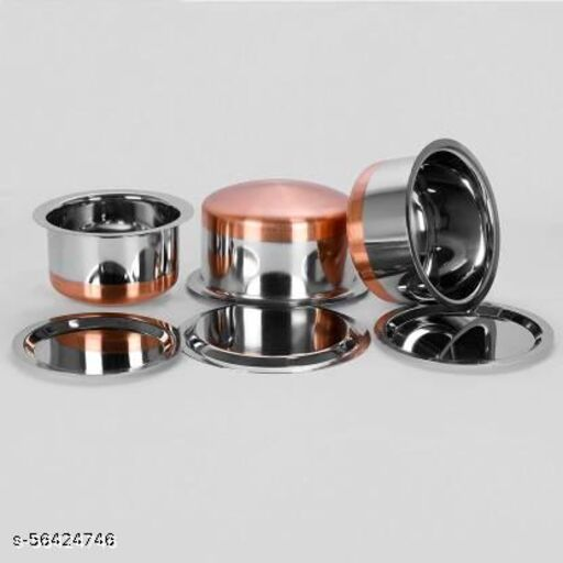 Neervika Copper Bottom Tope set of  - 3  Pcs -  1.5 LTR,  2 LTR, 2.5 LTR. WITH LID. Stainless Steel.