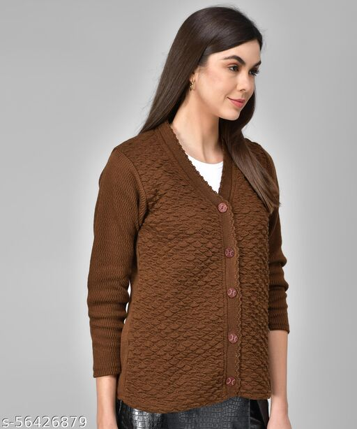 eWools Women Chocolate Brown Woolen Sweaters (100)