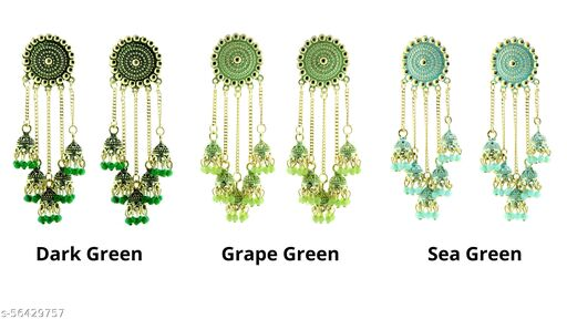 Fashionhaat, Trendy & Ethnic Gold Plated Stylish Pearl Jhumka Jhumki Traditional Earrings for Women and Girls 3 pairs of Attractive multi color combo Alloy Jhumki Earring ( Dark Green, Grape Green, Sea Green)