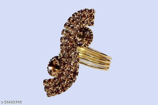 gold plated american diamond  designer  colour ring / finger ring for  women and girls