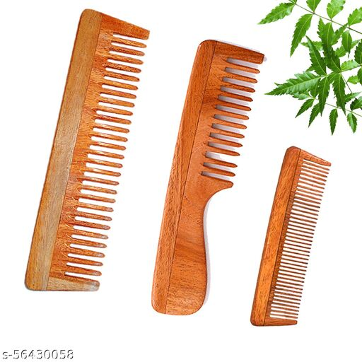 DREAMWIND Neem Wooden Comb Set Of 3 for Women & Men | Hair Growth | Anti-Bacterial