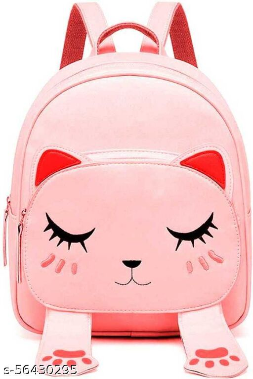 Fashion Cute Small Cat Style Backpack for Girls (Black,