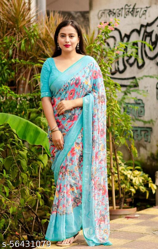 soft Georgette floral printed saree with sequence embroidery