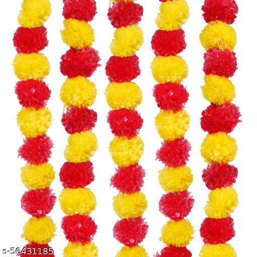 Naitik Set 5 Red Yellow Mix Combo Artificial Marigold Fluffy Flower/Genda Phool Garlands for Diwali, Navratri,Durga Pooja Festival Home Decoration Yellow, Red Marigold Artificial Flower  (54 inch, Pack of 5)