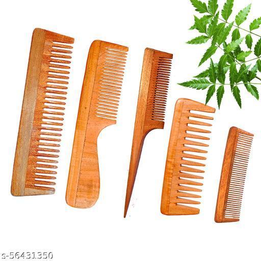 DREAMWIND Neem Wooden Comb Set for Women & Men | Hair Growth |Anti-Dandruff (Pack of 5)