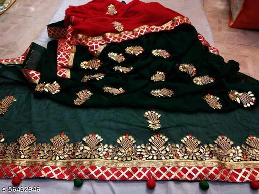 Pure najmeen chiffon saree with jarkan buta gota Patti work Contrast work blouse