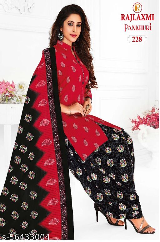 Shree Shan Printed Unstitched Cotton Dress Material Set (Top, Bottom and Dupatta) (Red)