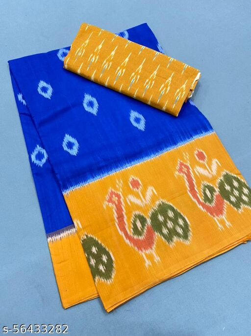 CLASIK YELLOW & BLUE COLOR DIGITAL PRINTED SAREE WITH UBSTITCHED BLOUSE