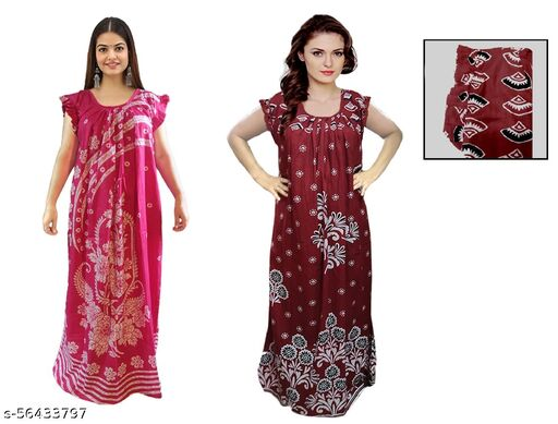 Nighty and Night dress ,Pure cotton ,after wash no discolor,  strong color ,Best quality nighty with butterfly shoulder design  , pink and maroon nighty.
