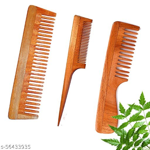 DREAMWIND Neem Wooden Comb Set Of 3 Women & Men | Anti-Bacterial | Hair Growth