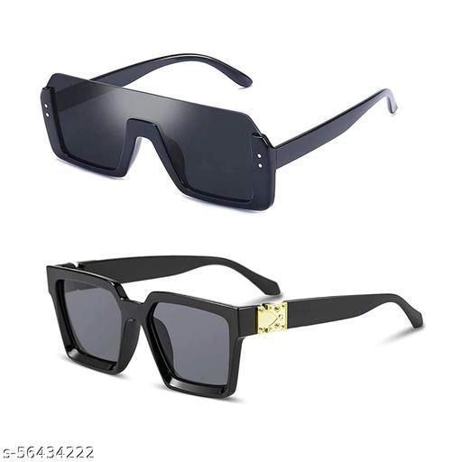 CREEK Men's Square Sunglasses - Black Combo Pack Of 02 -Free Size