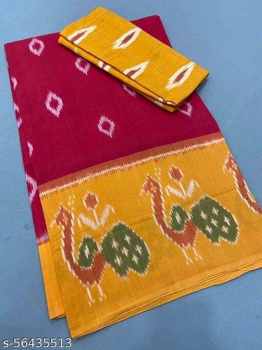 CLASIK YELLOW & MAROON COLOR DIGITAL PRINTED SAREE WITH UBSTITCHED BLOUSE