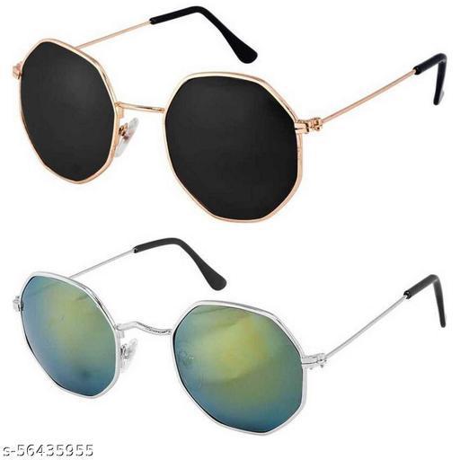 CREEK Unisex Adult Octagonal Sunglasses (Pack of 2)