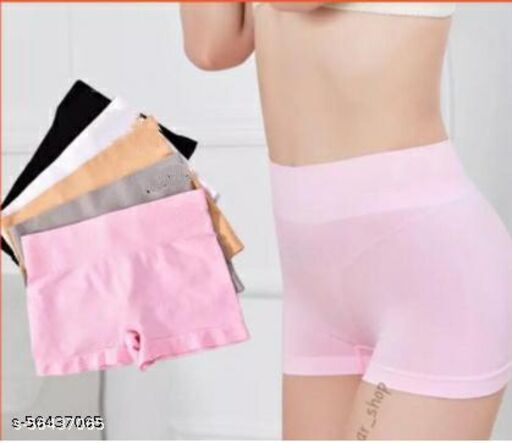 """Piacere High Waist Boyshorts Long Panty Seamless Body Shaping Casual Short Ladies Boxer Briefs  Cotton Underwear Cycling Shorts for Women Free Size 24"""" - 34"""" Multicolor Pack of 1"""