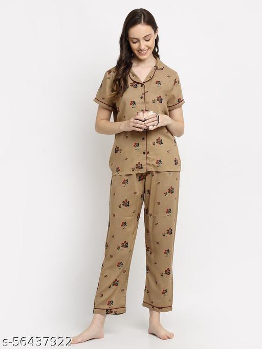 Katnindia Women Khakhi Floral Print Shirt & Pyjama set Khakhi Night Suits