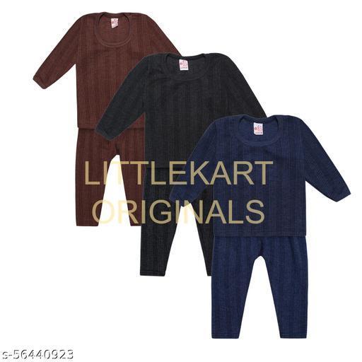 LITTELKART Kids Baby Thermal Set Pajama/Pajami and Baniyan/Top Set for Baby Boys & Girls (Multicolor Pack of 3)