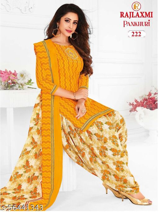 Shree Shan Pure Cotton Un-Stitched Suit (Yellow)