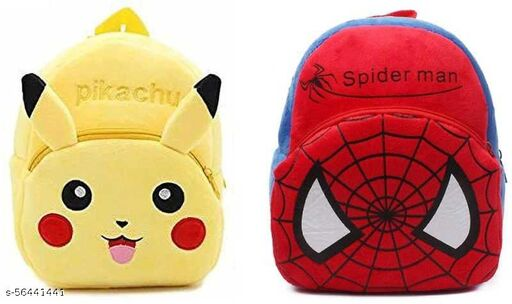 Spiderman And Pickachu Bag Soft Material School Bag For Kids Plush Backpack Cartoon Toy   Children's Gifts Boy/Girl/Baby/ Decor School Bag For Kids(Age 2 to 6 Year) and Suitable For Nursery,UKG,NKG Student High Quality School Bag School Bag