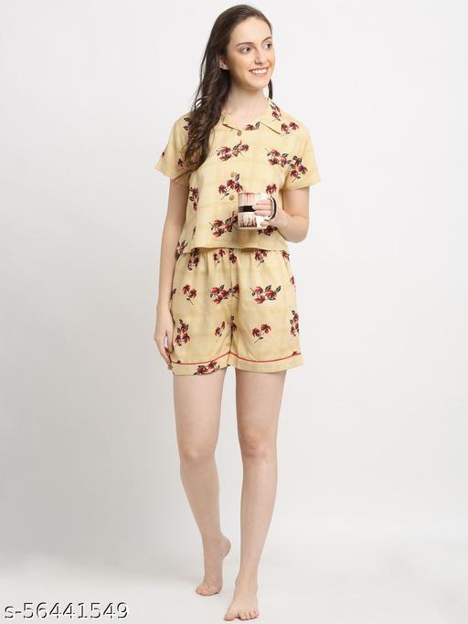 Katnindia Girls Floral Print Beige Top & Shorts Set